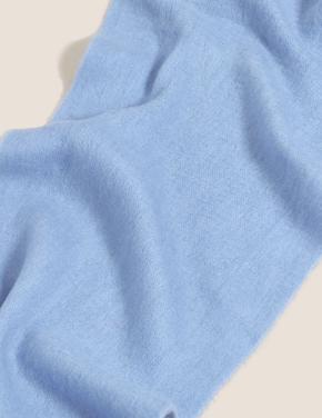 Kadın Mavi Örme Püsküllü Atkı
