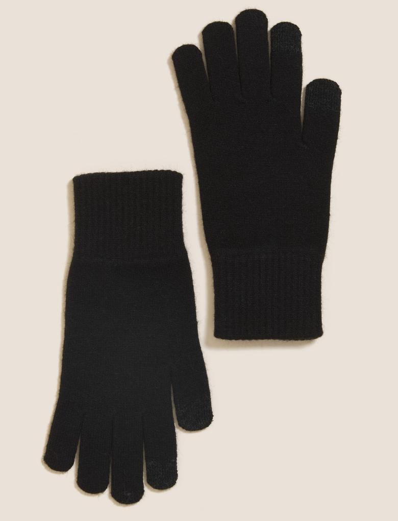 Kadın Siyah Touchscreen Örme Eldiven
