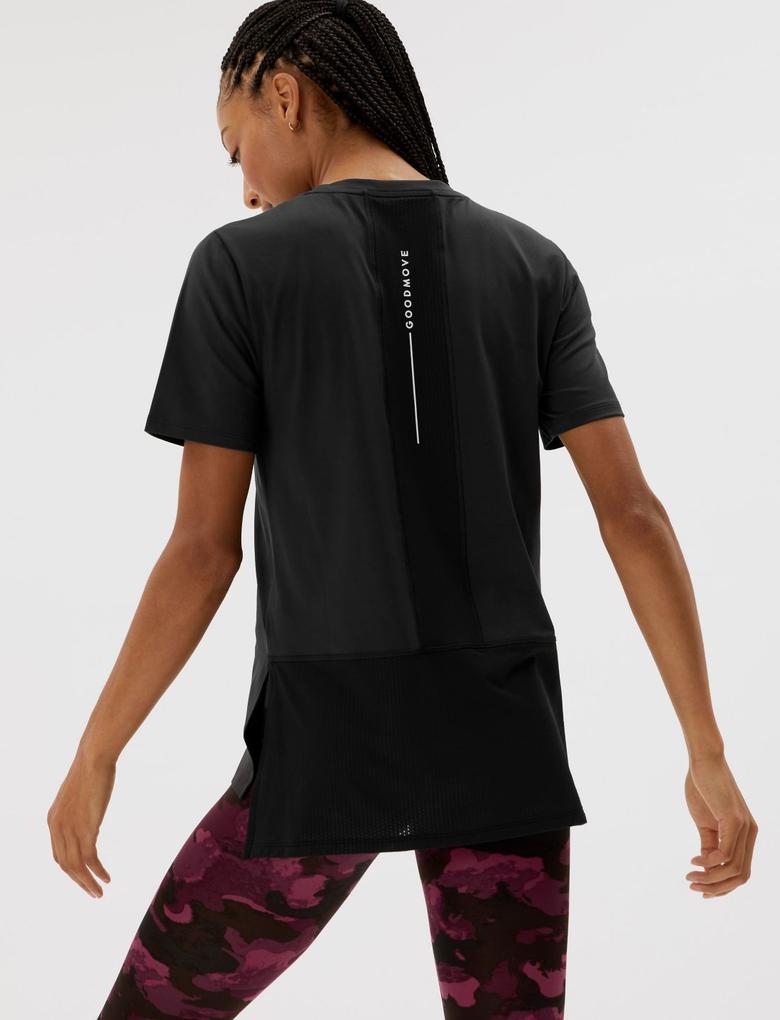 Kadın Siyah File Detaylı Kısa Kollu T-Shirt