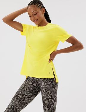 Kadın Sarı File Detaylı Kısa Kollu T-Shirt