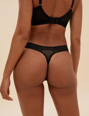 Kadın Siyah İşleme Detaylı High Leg Külot