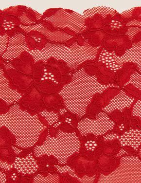 Kadın Kırmızı Çiçek Desenli Dikişsiz Brazilan Külot