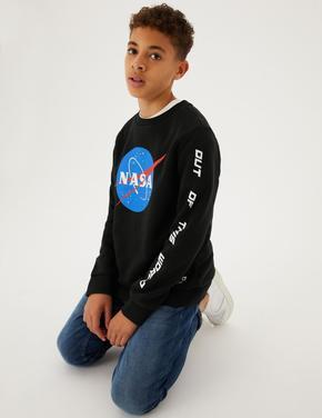 Erkek Çocuk Siyah NASA™ Yuvarlak Yaka Sweatshirt (6-16 Yaş)