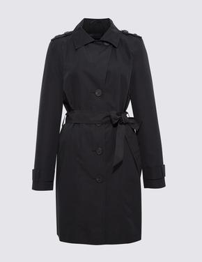 Kadın Siyah Klasik Yaka Kuşaklı Trençkot