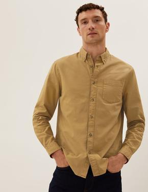 Erkek Bej Saf Pamuklu Oxford Gömlek