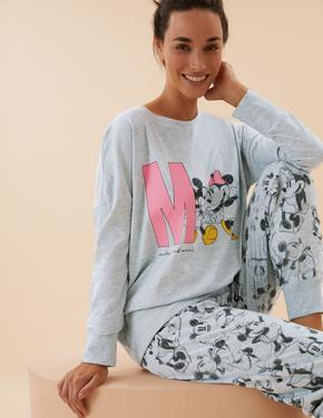 Kadın Gri Mickey Mouse™ Pijama Takımı