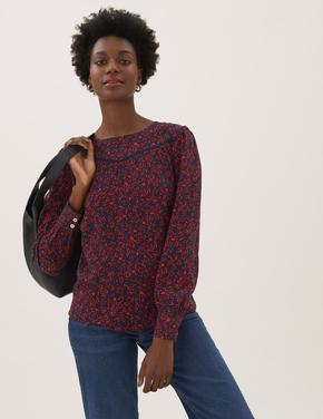 Kadın Kırmızı Çiçek Desenli Uzun Kollu Bluz
