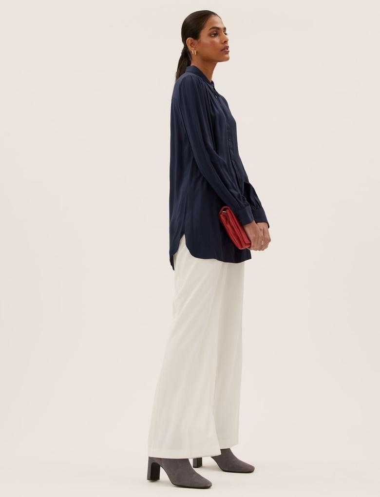 Kadın Lacivert Relaxed Fit Uzun Gömlek