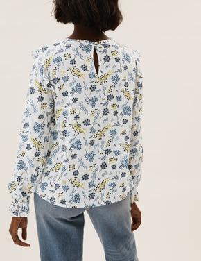 Kadın Krem Çiçek Desenli Uzun Kollu Bluz