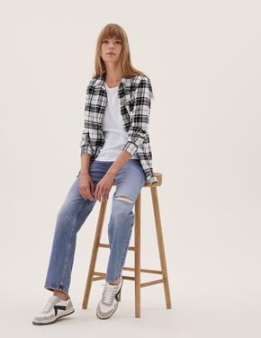 Kadın Krem Regular Fit Kareli Gömlek