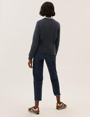 Kadın Lacivert Saf Pamuklu Peanuts™ Yuvarlak Yaka Sweatshirt