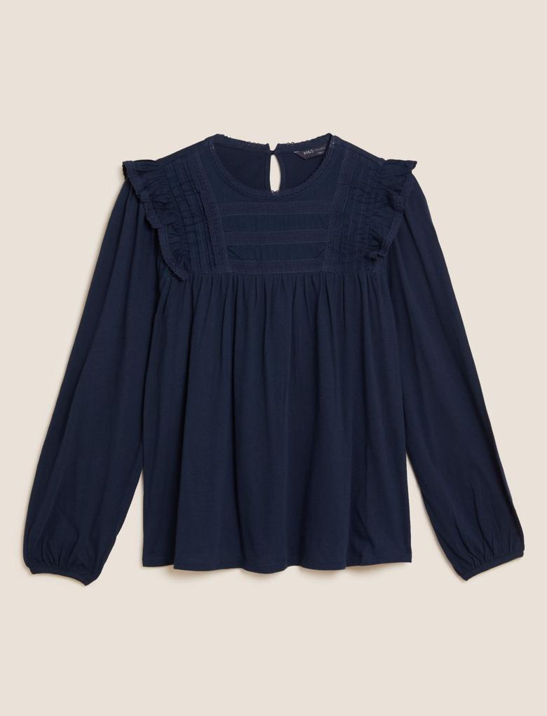 Kadın Lacivert Saf Pamuklu Fırfır Detaylı Bluz