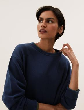 Kadın Lacivert Saf Pamuklu Yuvarlak Yaka Sweatshirt