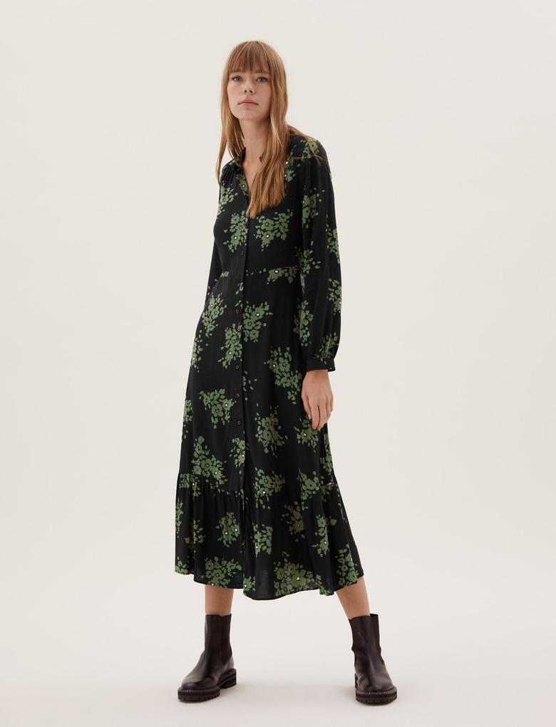 Kadın Lacivert Çiçek Desenli Gömlek Elbise