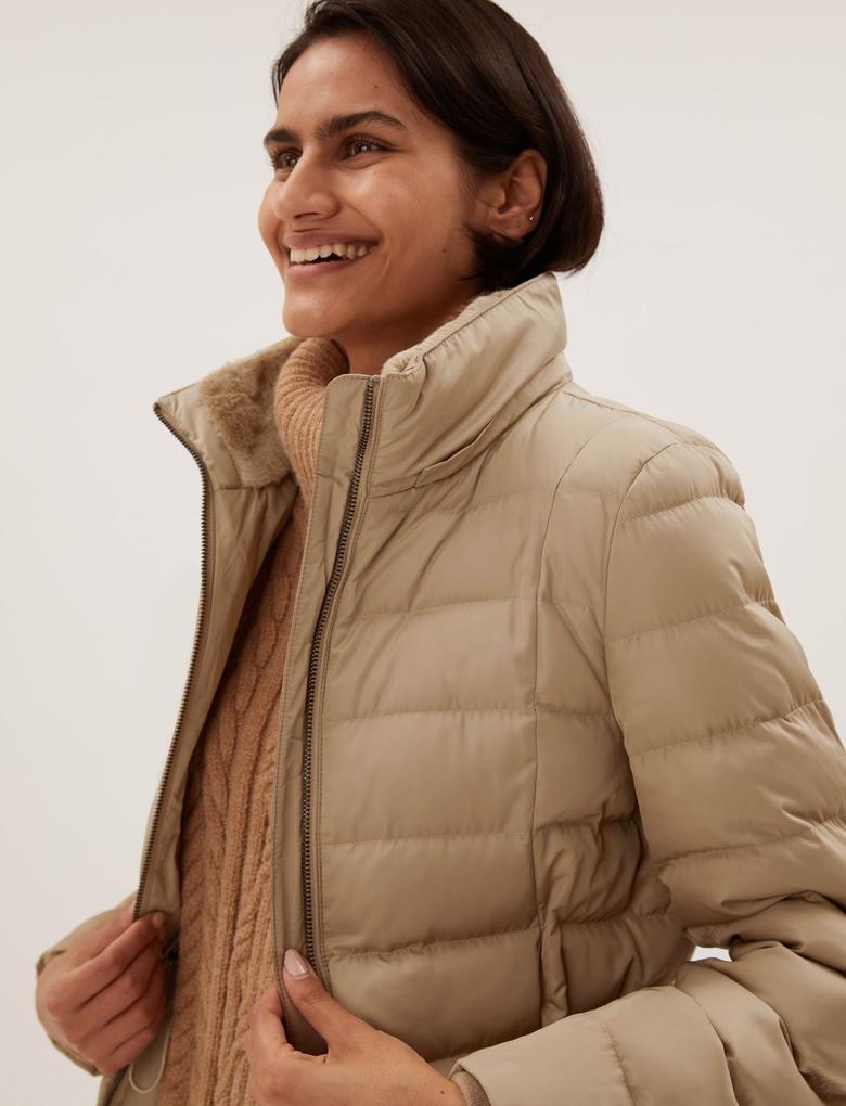 Kadın Bej Thermowarmth™ Kapüşonlu Puffer Şişme Mont