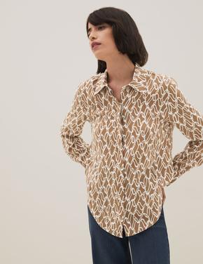 Kadın Bej Uzun Kollu Desenli Gömlek
