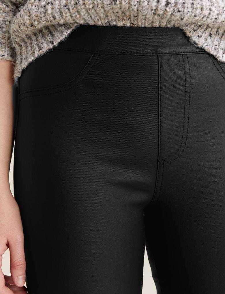 Kadın Siyah Suni Deri Yüksek Bel Jegging Pantolon