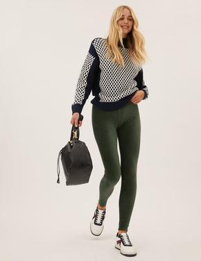 Kadın Yeşil Kadife Legging Tayt