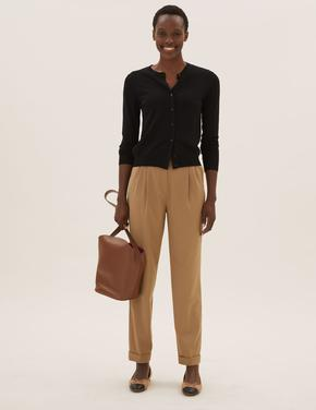 Kadın Kahverengi Pileli Tapered Ankle Grazer Pantolon