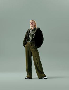Kadın Yeşil Geniş Paça Pantolon