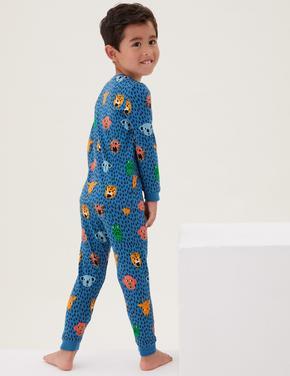 Çocuk Multi Renk Hayvan Desenli Pijama Takımı (1-7 Yaş)