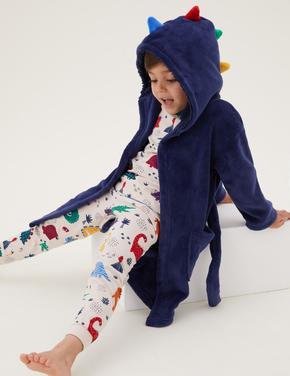 Çocuk Mavi 3D Dinozor Desenli Sabahlık (1-7 Yaş)