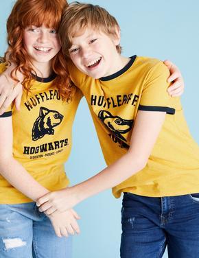 Erkek Çocuk Sarı Saf Pamuklu Harry Potter™ Kısa Kollu T-Shirt (6-16 Yaş)