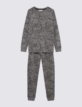 Çocuk Multi Renk Grafik Desenli Uzun Kollu Pijama Takımı