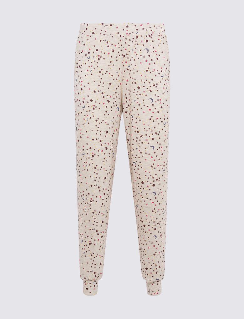Kadın Bej Grafik Desenli Pijama Altı