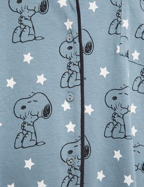 Kadın Yeşil Snoopy™ Uzun Kollu Gecelik