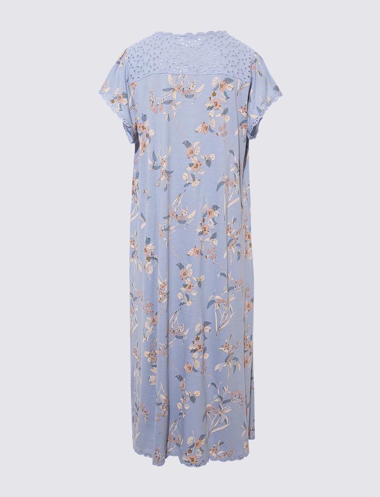 Kadın Mavi Dantel Detaylı Çiçekli Gecelik