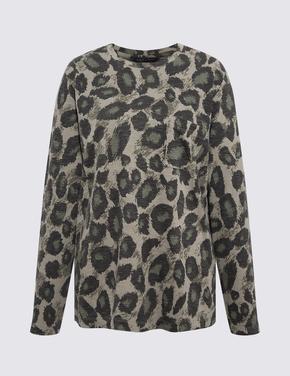 Kadın Gri Leopar Desenli Uzun Kollu T-Shirt