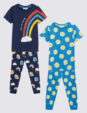 Çocuk Lacivert 2'li Grafik Desenli Pijama Takımı