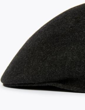Erkek Gri Saf Yünlü Şapka