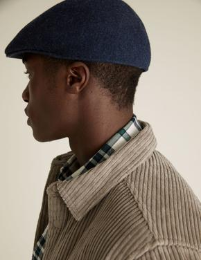 Erkek Lacivert Saf Yünlü Şapka