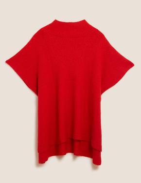 Kadın Kırmızı Kısa Kollu Örme Panço