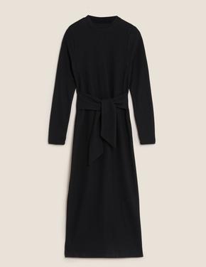 Kadın Siyah Kuşak Detaylı Midi Elbise