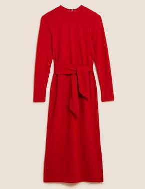 Kadın Kırmızı Kuşak Detaylı Midi Elbise