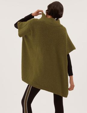 Kadın Yeşil Kısa Kollu Örme Panço