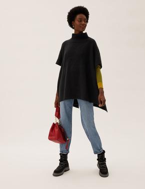 Kadın Siyah Kısa Kollu Örme Panço