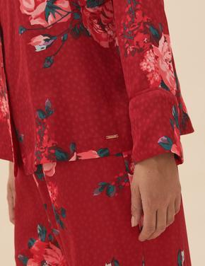 Kadın Kırmızı Çiçek Desenli Saten Pijama Takımı