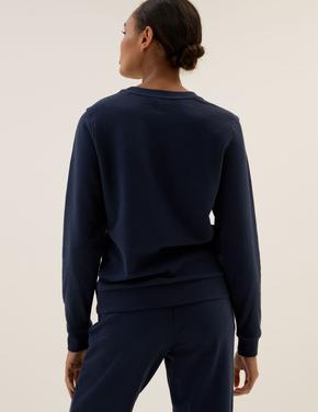 Kadın Lacivert Yuvarlak Yaka Sweatshirt