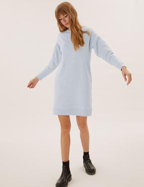 Kadın Gri Yuvarlak Yaka Sweatshirt Elbise
