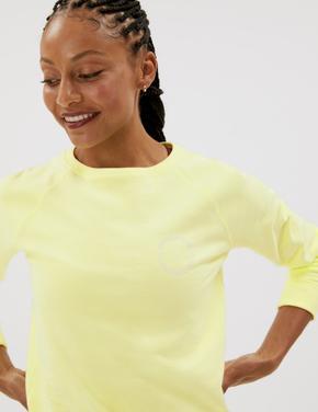 Kadın Sarı Saf Pamuklu Yuvarlak Yaka Sweatshirt