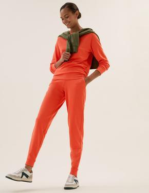 Kadın Turuncu Yüksek Belli Jogger Eşofman Altı