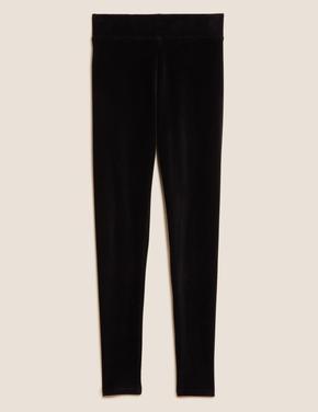 Kadın Siyah Kadife Yüksek Belli Legging Tayt