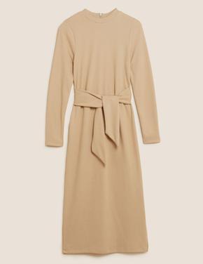 Kadın Bej Kuşak Detaylı Midi Elbise