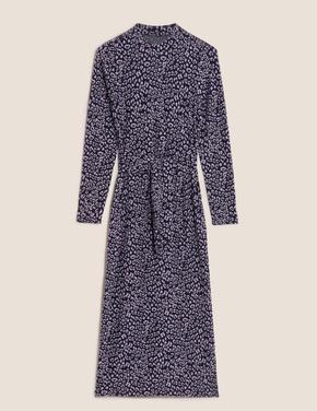 Kadın Lacivert Kuşak Detaylı Midi Elbise