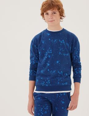 Erkek Çocuk Mavi Renk Temalı Uzun Kollu Sweatshirt