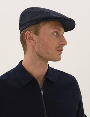 Erkek Lacivert Thermowarmth™ Yünlü Dokulu Şapka